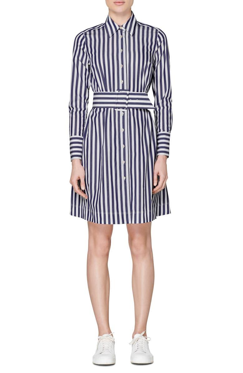 SUISTUDIO Dex Stripe Long Sleeve Shirtdress, Main, color, NAVY STRIPED
