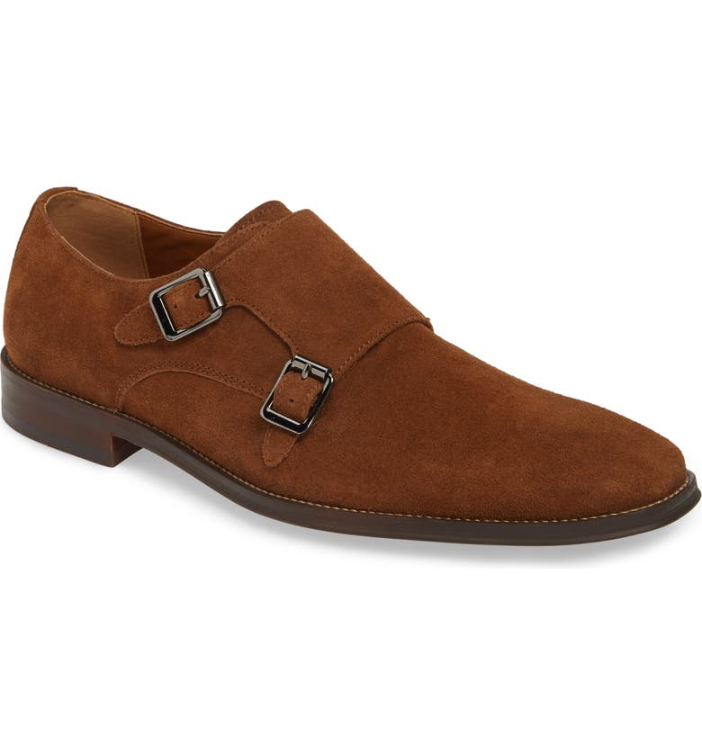 NORDSTROM MEN'S SHOP Roger Monk Strap Derby, Main, color, TAN SUEDE