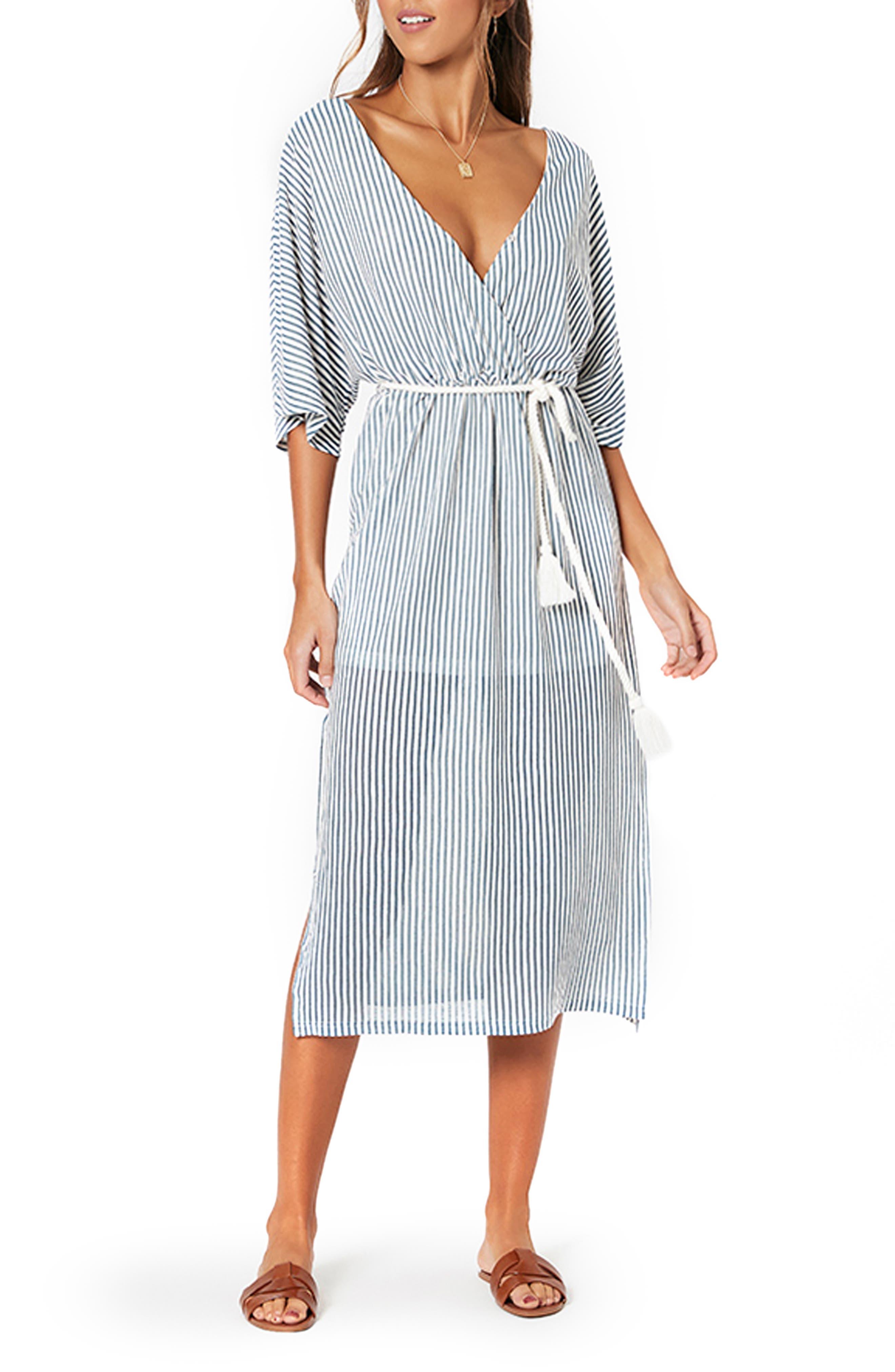 MINKPINK Stripe Tie Waist Midi Dress | Nordstrom