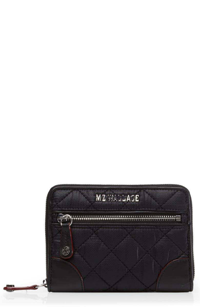 MZ WALLACE Small Crosby Wallet, Main, color, BLACK