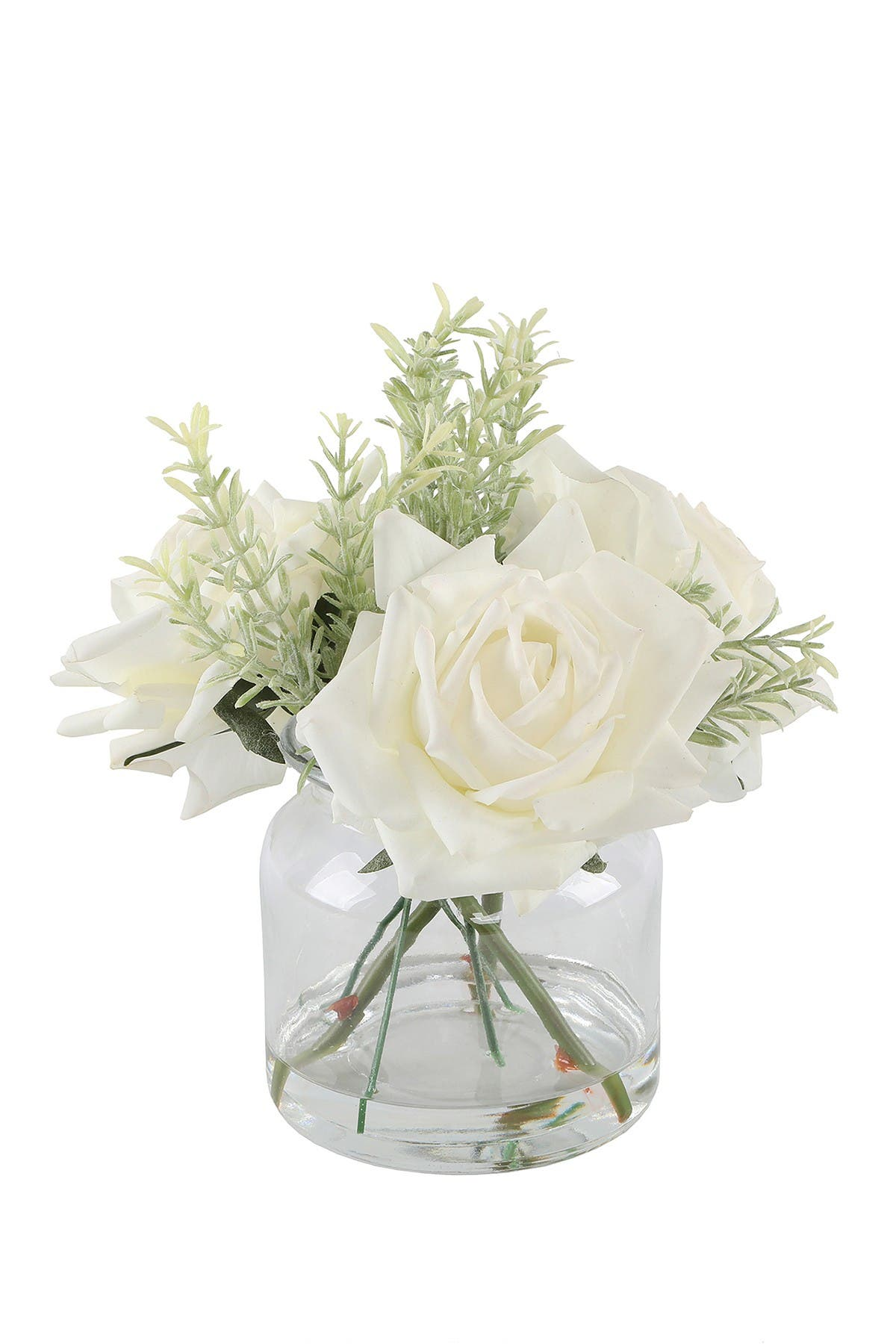 """Image of FLORA BUNDA 9""""H Real-Touch Roses in Glass Vase"""