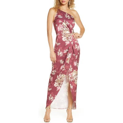 Wayf The Lainey Floral One-Shoulder Twist Gown, Burgundy