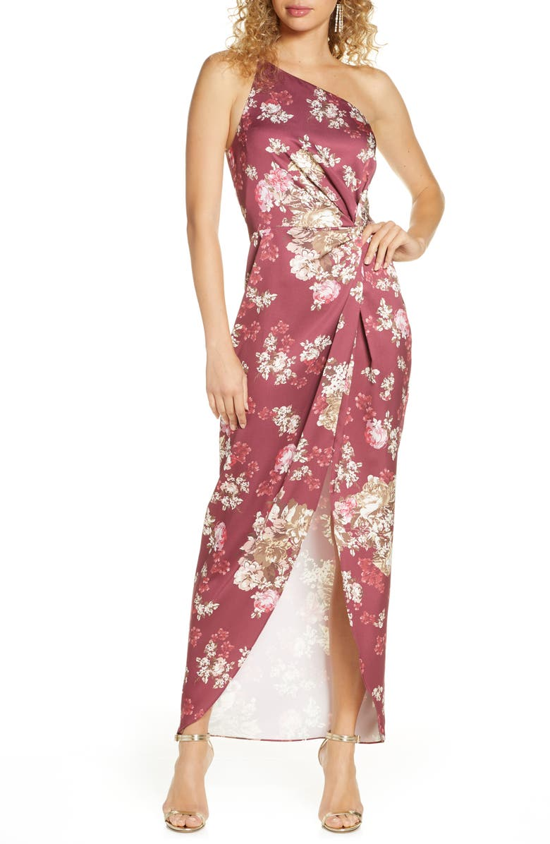 WAYF The Lainey Floral One-Shoulder Twist Gown, Main, color, 930