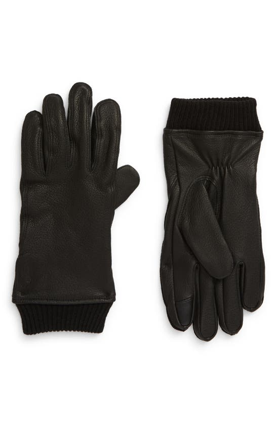 Polo Ralph Lauren Iconic Ribbed Cuff Touchscreen Leather Gloves In Black