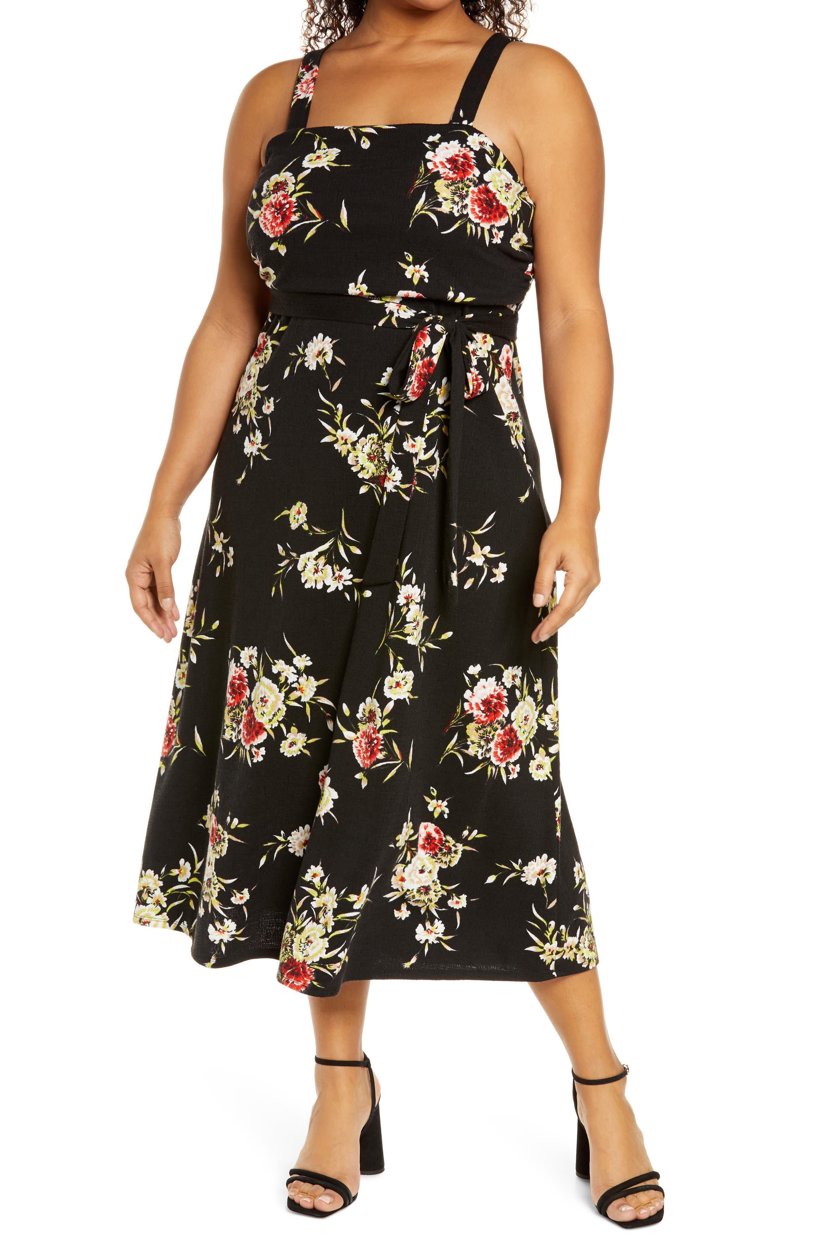 Square Neck Floral Fit & Flare Dress