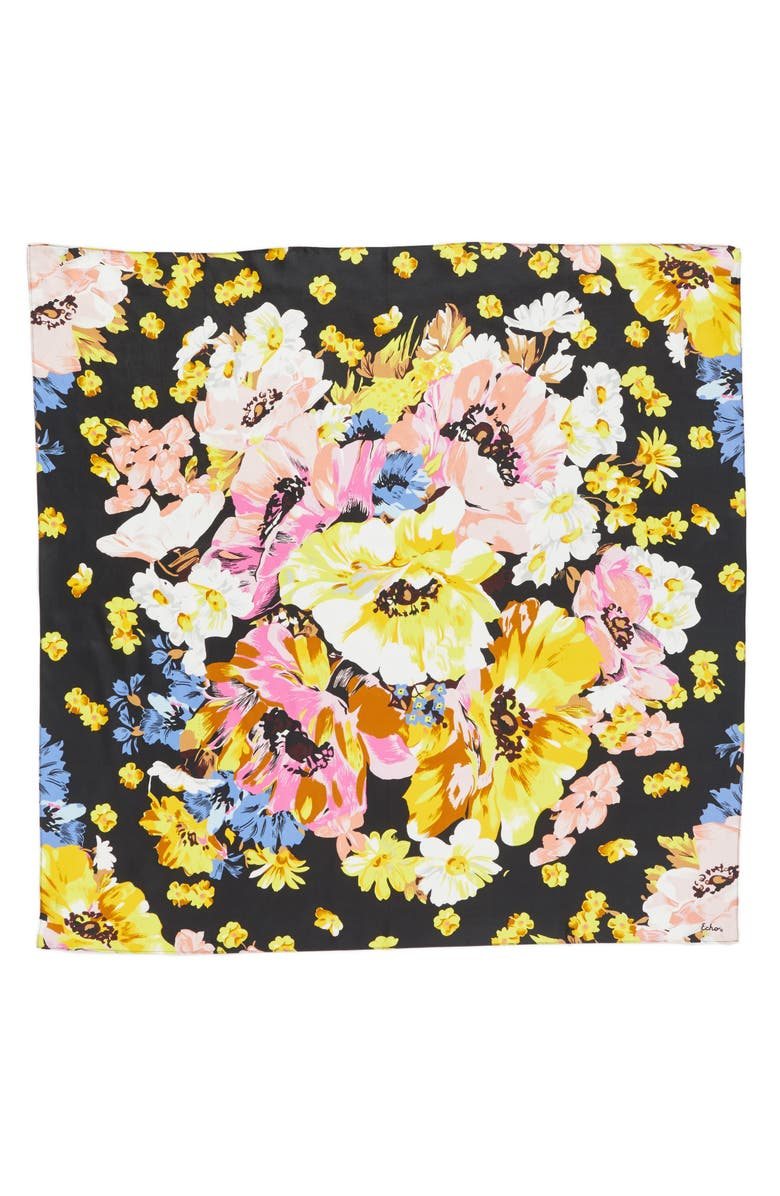 ECHO Floral Silk Square Scarf, Main, color, 001