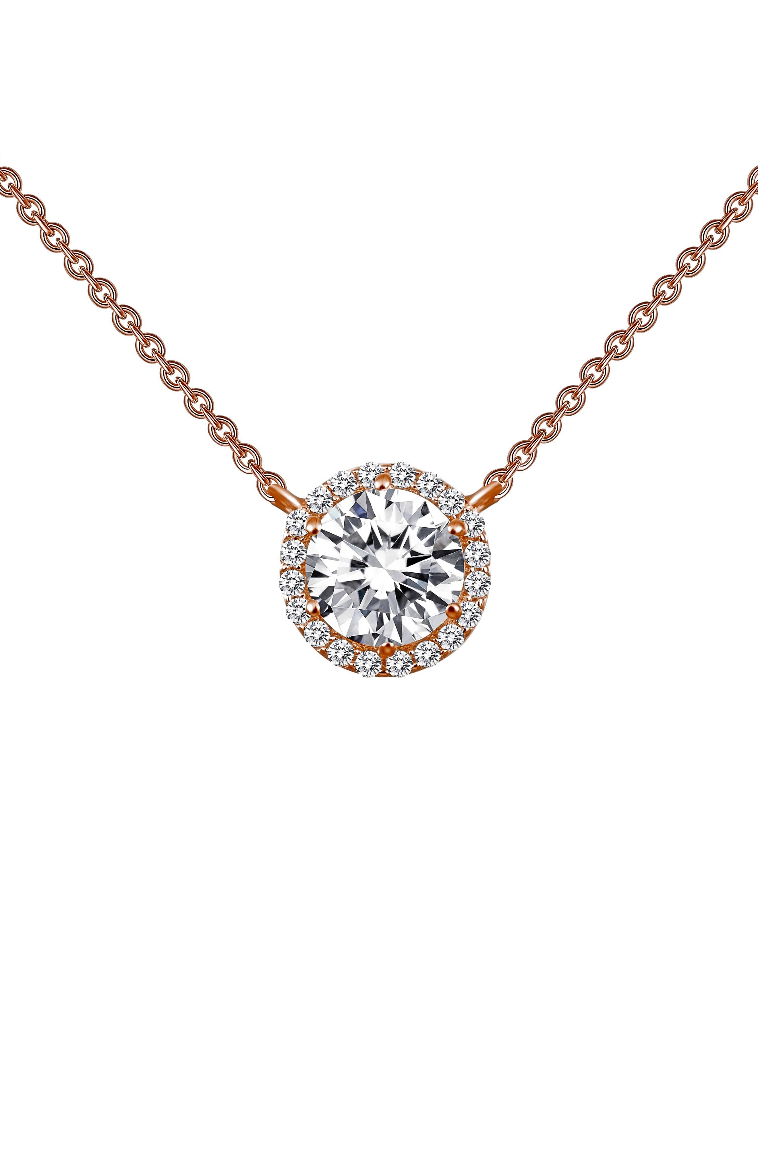 A halo of glittering simulated diamonds surrounds a stunning central stone in a timeless pendant necklace that adds elegant sparkle to any outfit. Style Name: Lafonn \\\'Lassaire\\\' Halo Pendant Necklace. Style Number: 5025410. Available in stores.