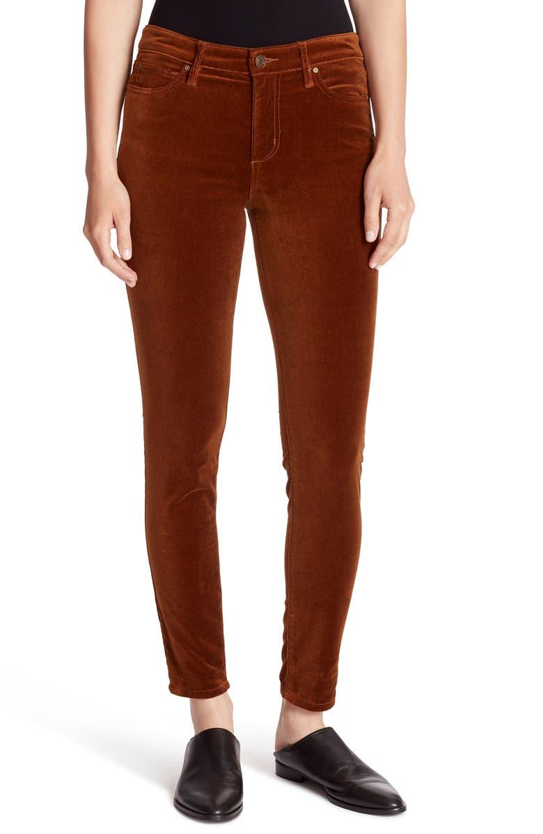 ELLA MOSS Velvet Skinny Pants, Main, color, SADDLE BROWN