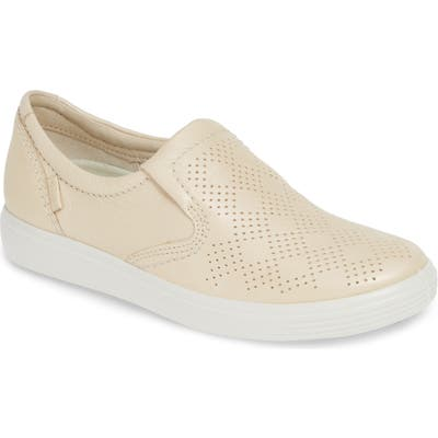 Ecco Soft 7 Perforated Slip-On Sneaker, White
