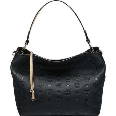 Mcm Klara Monogram Leather Hobo - Black
