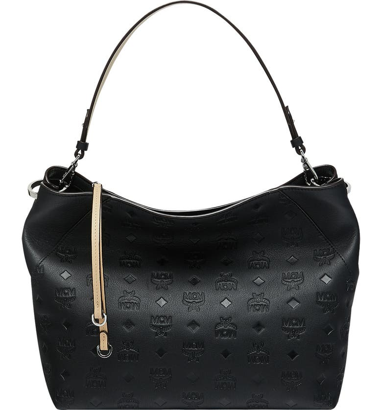 MCM Klara Monogram Leather Hobo, Main, color, BLACK