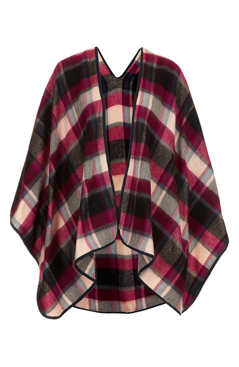 TOPSHOP Check Print Cape, Main, color, 600