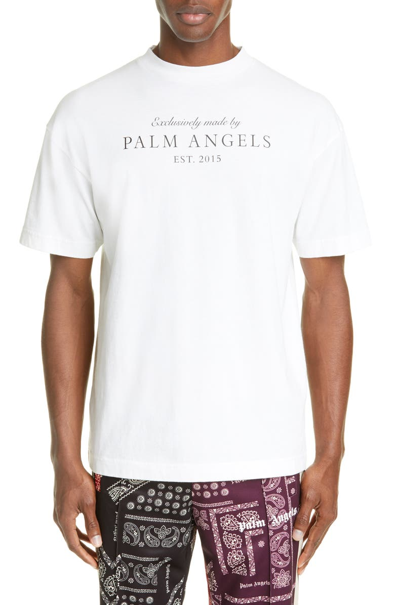 PALM ANGELS Vintage Logo Graphic T-Shirt, Main, color, WHITE BROWN