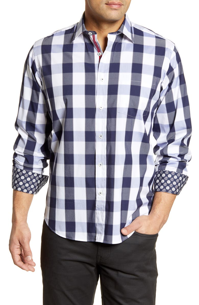 BUGATCHI Shaped Fit Button-Up Shirt, Main, color, MIDNIGHT
