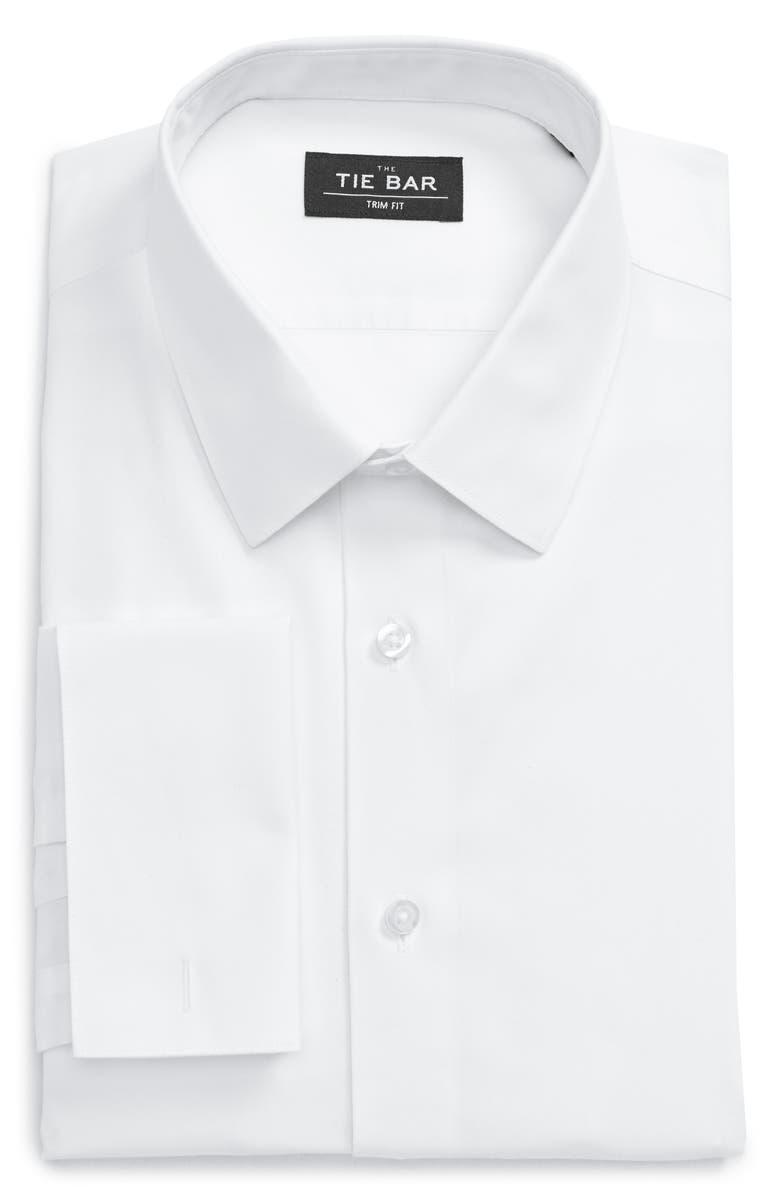 THE TIE BAR Trim Fit Dress Shirt, Main, color, 100