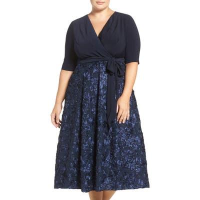 Plus Size Alex Evenings Tea Length Jersey & Rosette Lace Dress