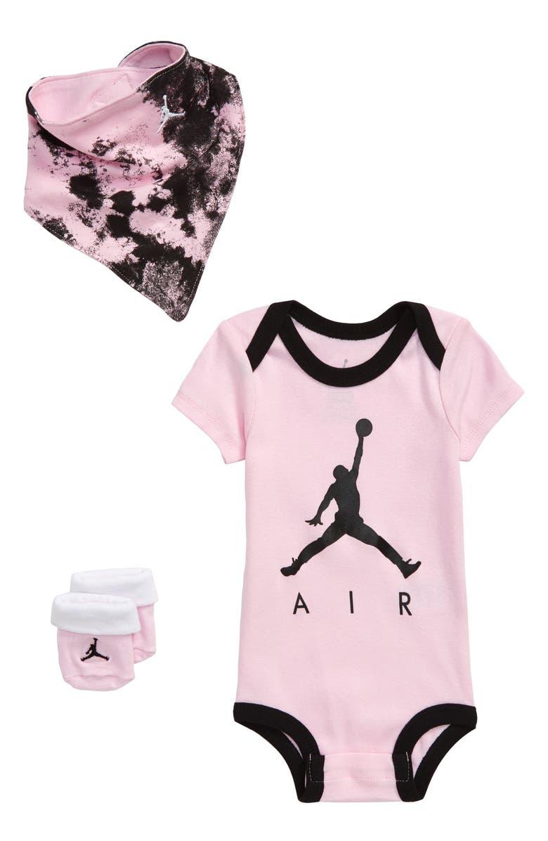NIKE Jordan Air Bodysuit, Socks & Bib Set, Main, color, GYM RED