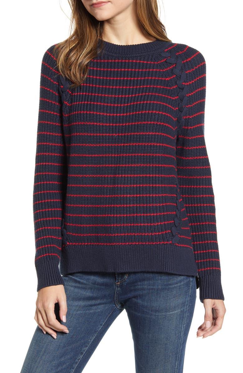 VINEYARD VINES Break Stripe Lattice Sweater, Main, color, BREAK STRIPE - LIGHTHOUSE RED