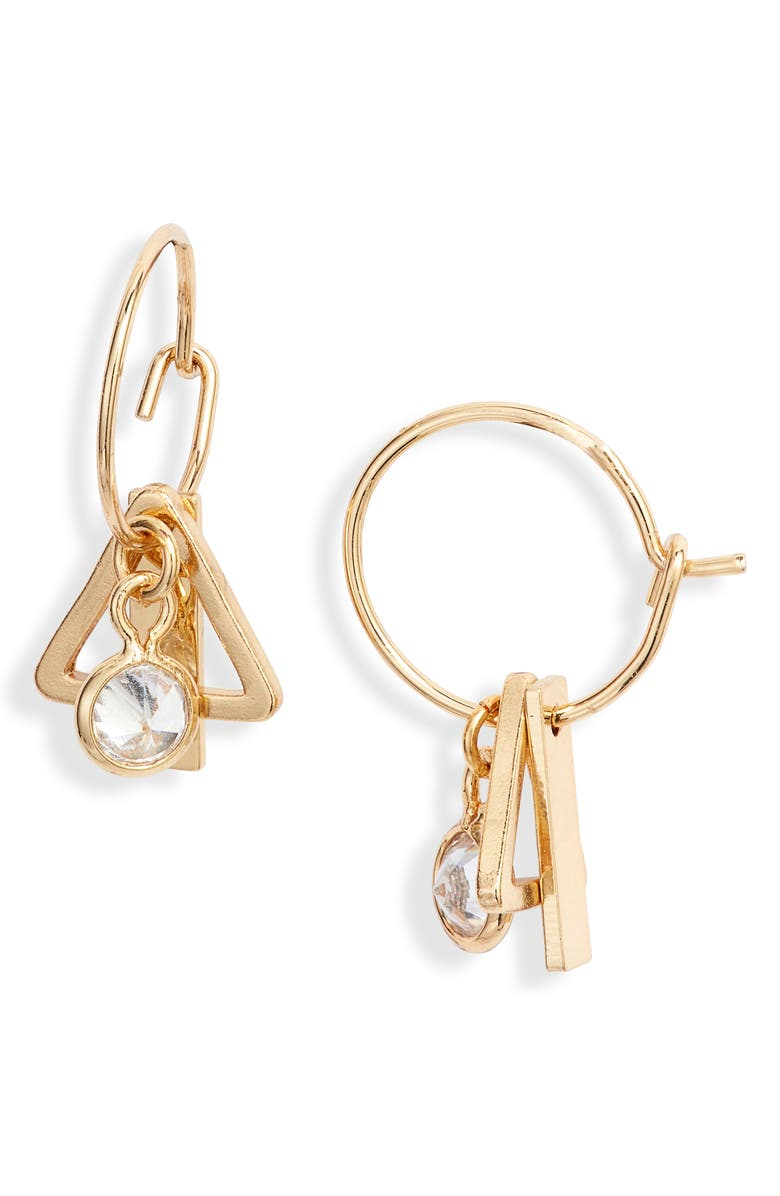ETTIKA Tiny Charm Hoop Earrings, Main, color, GOLD
