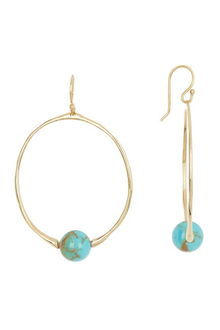 Image of Ippolita 18K Gold Nova Small Round Drop Earrings in Gold Matrix Turquoise