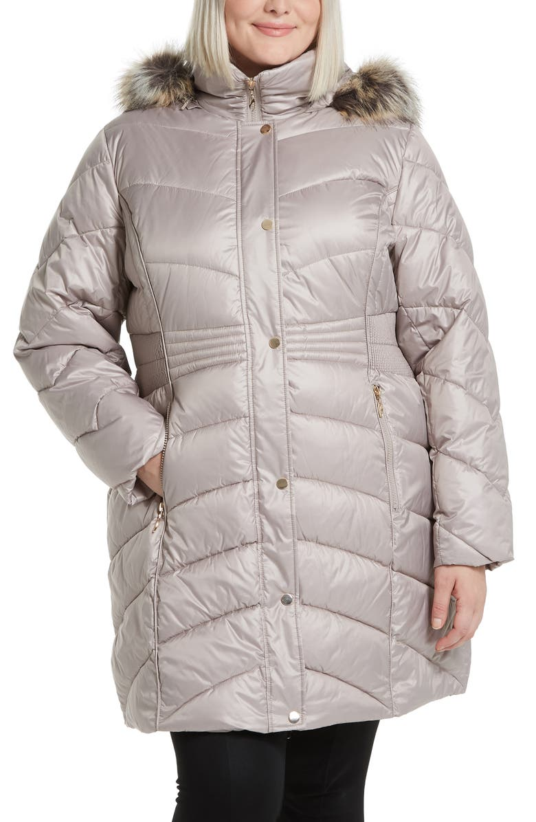 GALLERY Faux Fur Trim Hooded Puffer Jacket, Main, color, PEBBLE
