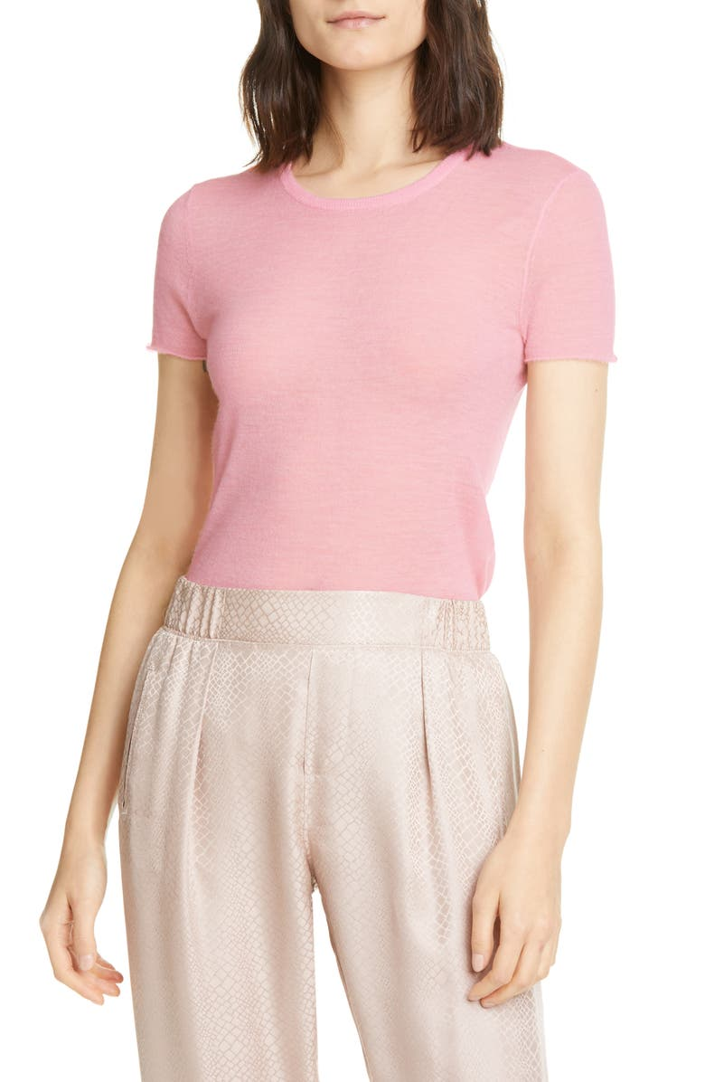 ATM ANTHONY THOMAS MELILLO Featherweight Cashmere Short Sleeve Sweater, Main, color, BALLET