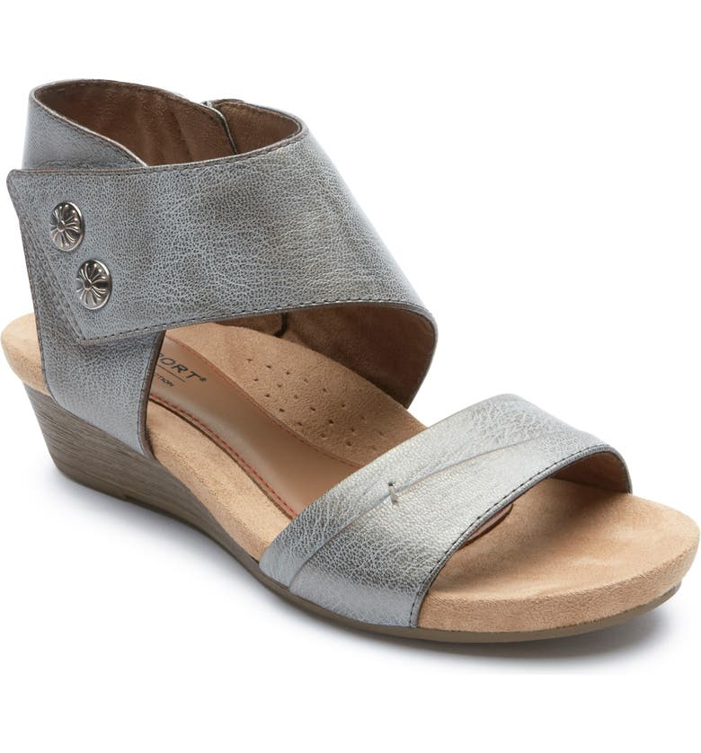 ROCKPORT Cobb Hill Hollywood Sandal, Main, color, WASHED METALLIC LEATHER