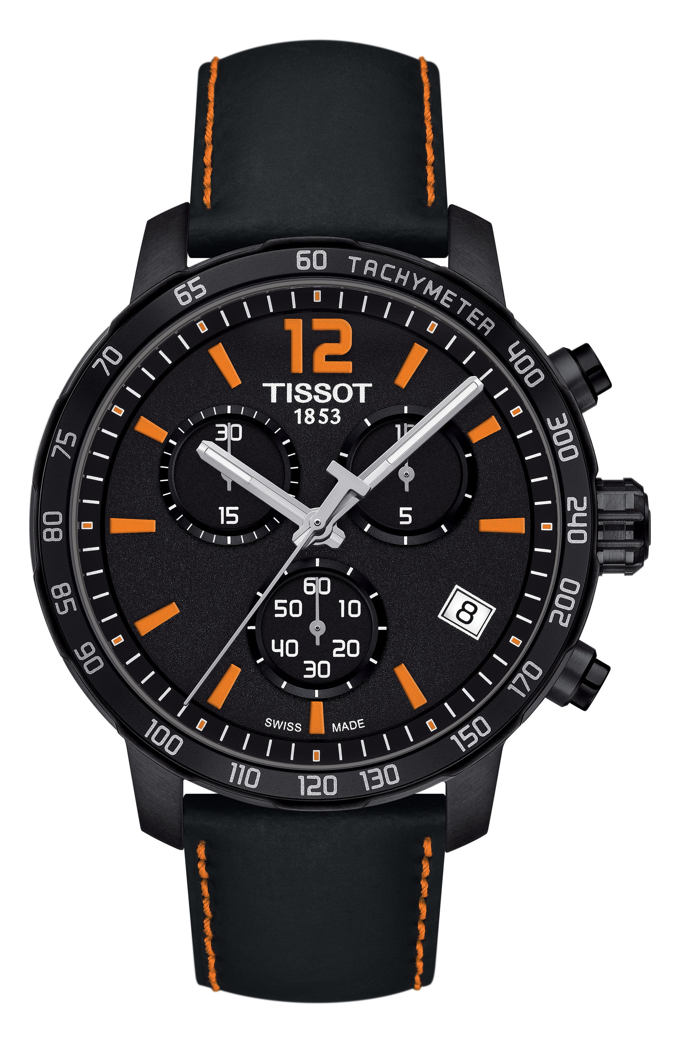 Image of Tissot Men's Quickster Chronograph Leather Strap Watch, 42mm