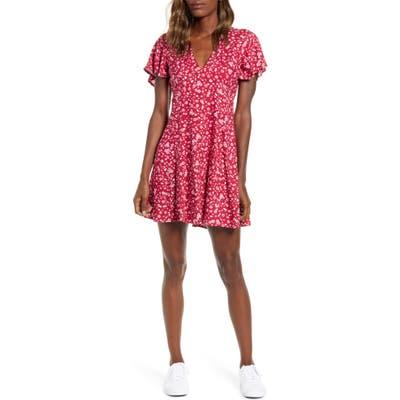 Minkpink Sweet Like Me Floral Print Minidress, Red