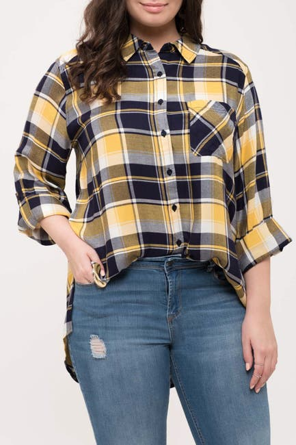Image of Perch by Blu Pepper Plaid Button-Down Shirt