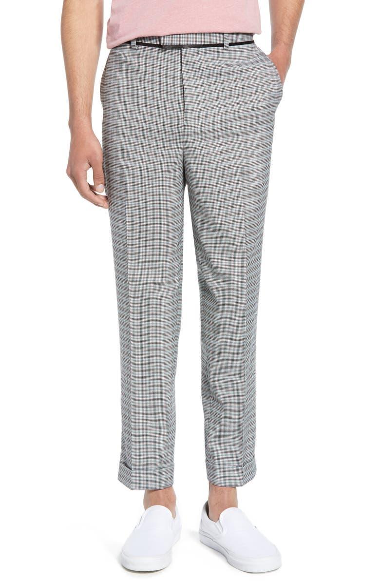 TOPMAN Rococo Mini Check Skinny Fit Dress Pants, Main, color, GREY