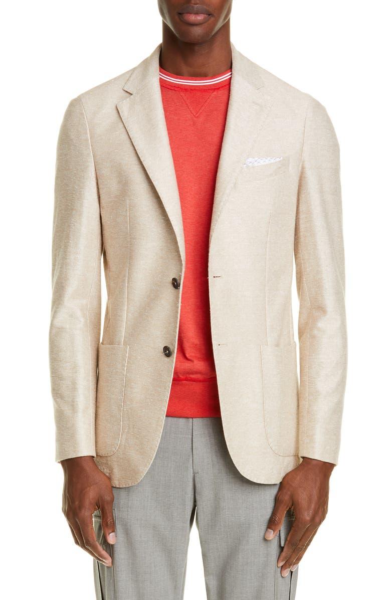 Eleventy Trim Fit Solid Linen Cotton Sport Coat
