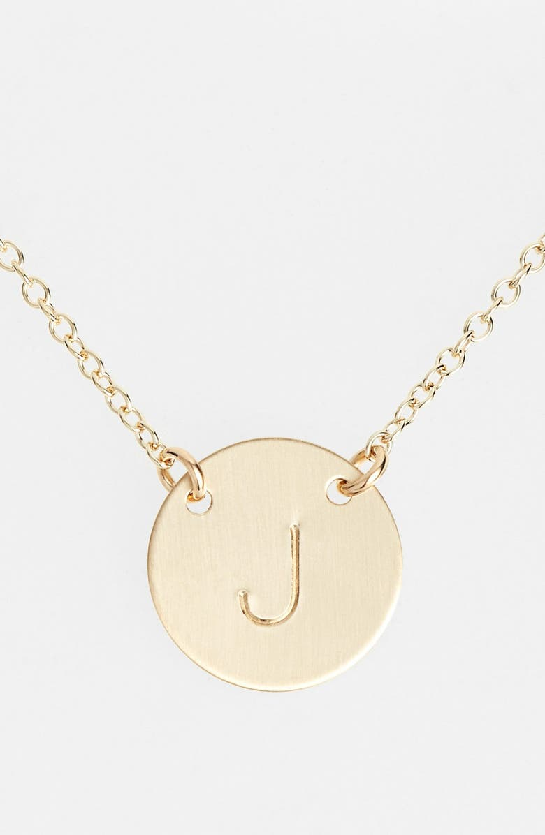 NASHELLE 14k-Gold Fill Anchored Initial Disc Necklace, Main, color, 14K GOLD FILL J