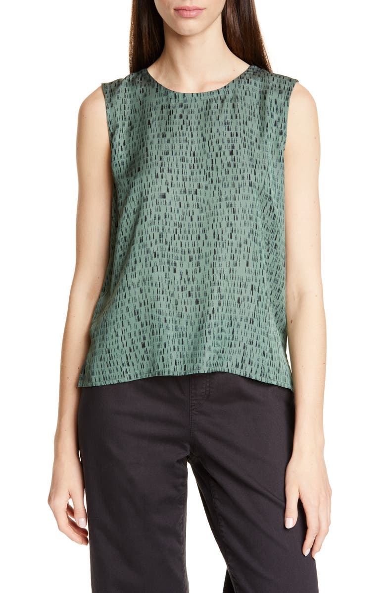 EILEEN FISHER Abstract Pattern Silk & Cotton Sleeveless Top, Main, color, NORI