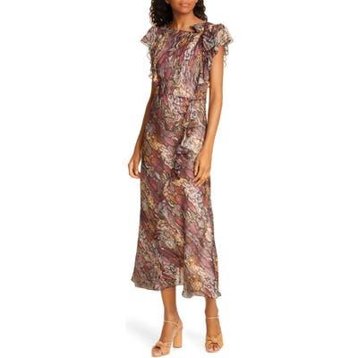Rebecca Taylor Snakeskin Print Ruffle Midi Dress, Brown