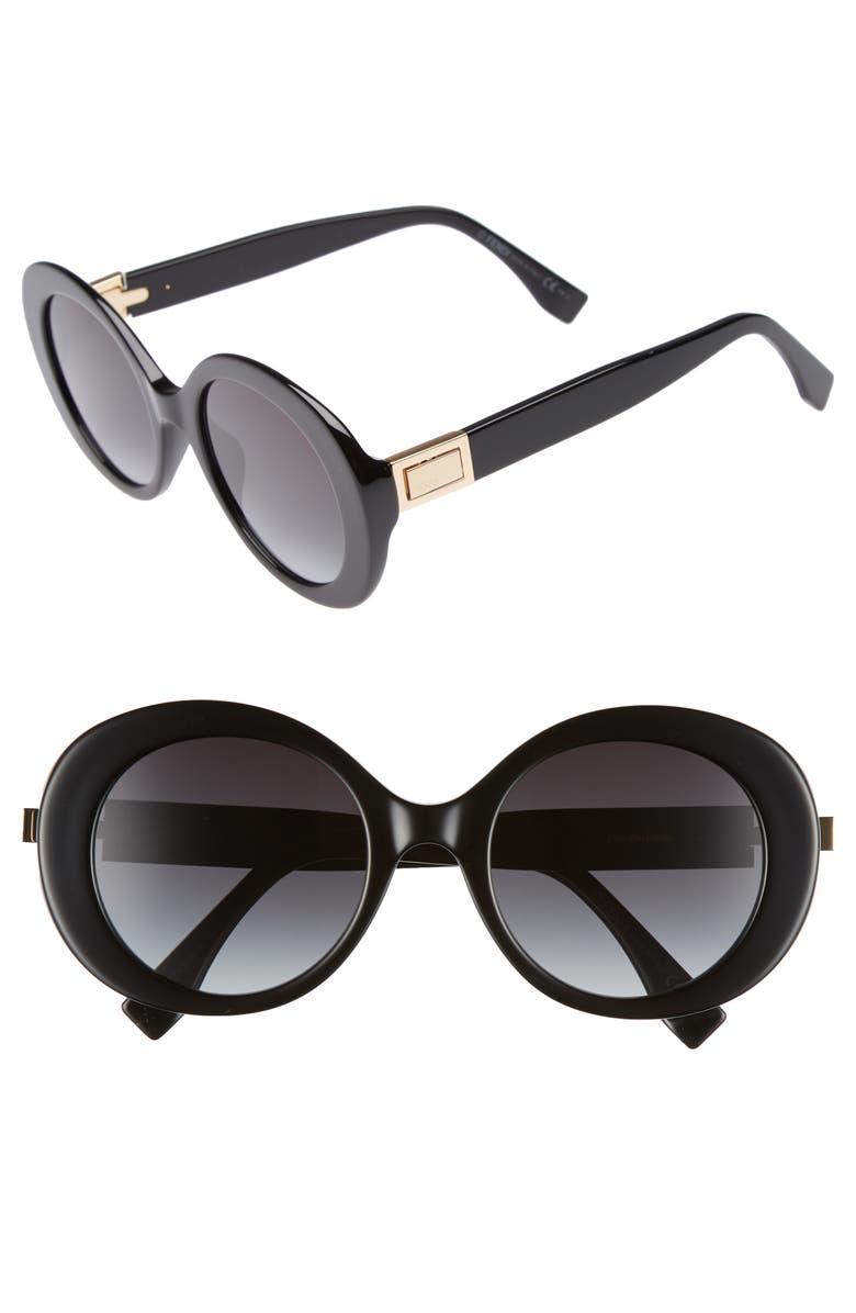 FENDI 52mm Round Sunglasses, Main, color, 001
