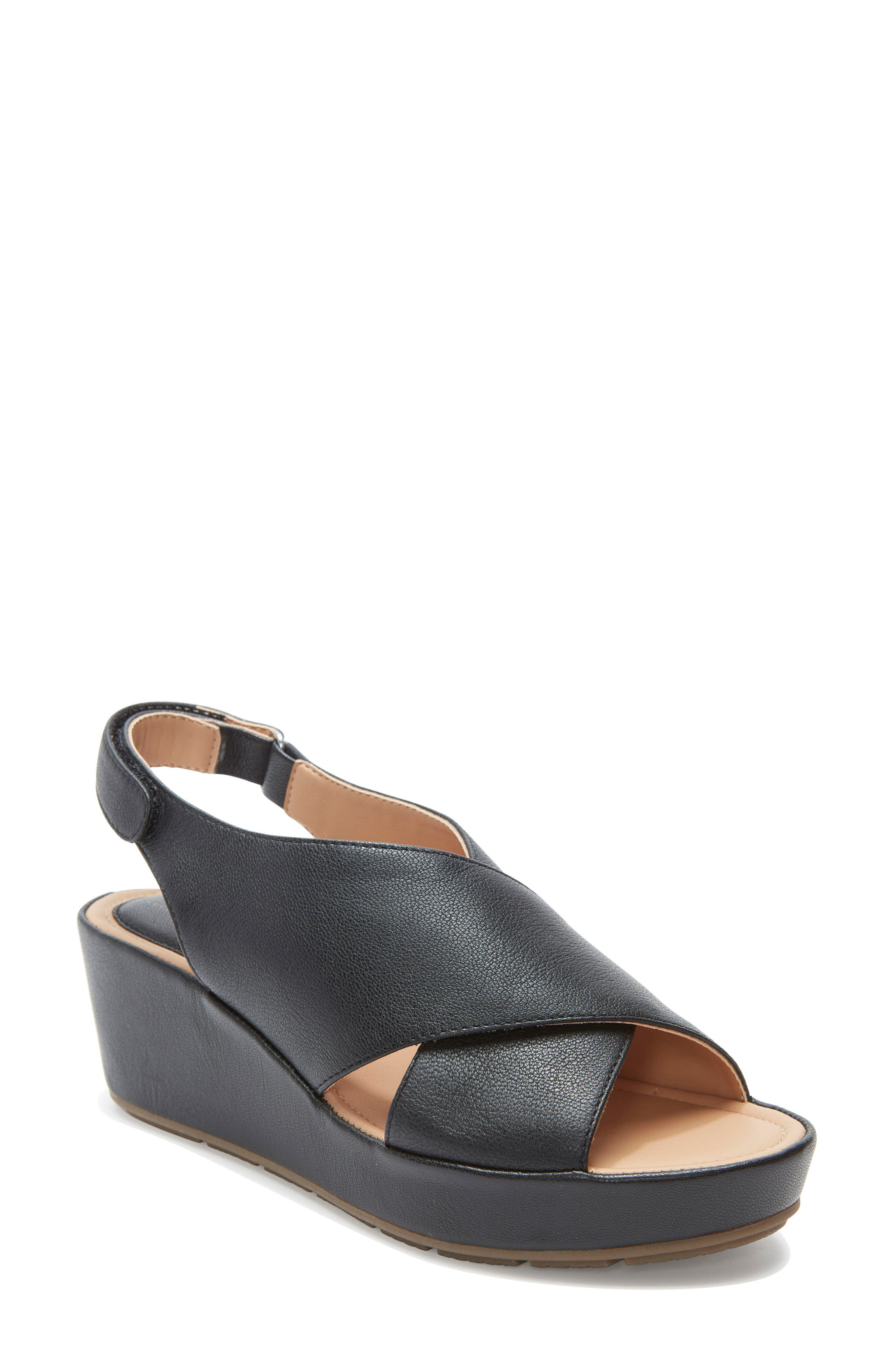Arena Wedge Sandal, Main, color, BLACK LEATHER