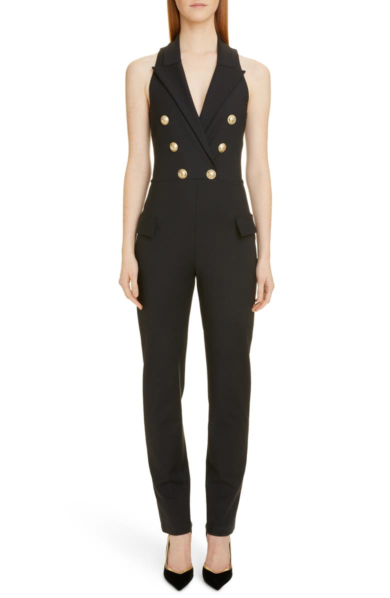 BALMAIN Double Breasted Jumpsuit, Main, color, 0PA NOIR