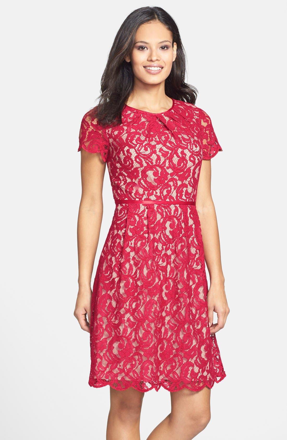 ,                             Scalloped Lace Dress,                             Main thumbnail 19, color,                             617