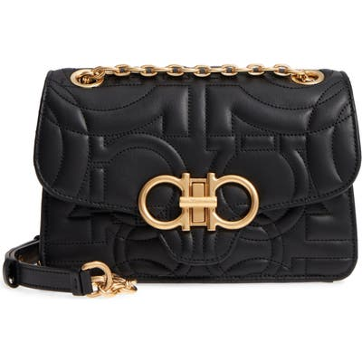 Salvatore Ferragamo Quilted Gancio Leather Shoulder Bag - Black