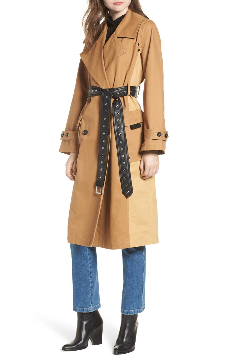 AVEC LES FILLES Colorblock Cotton Trench Coat, Main, color, 252