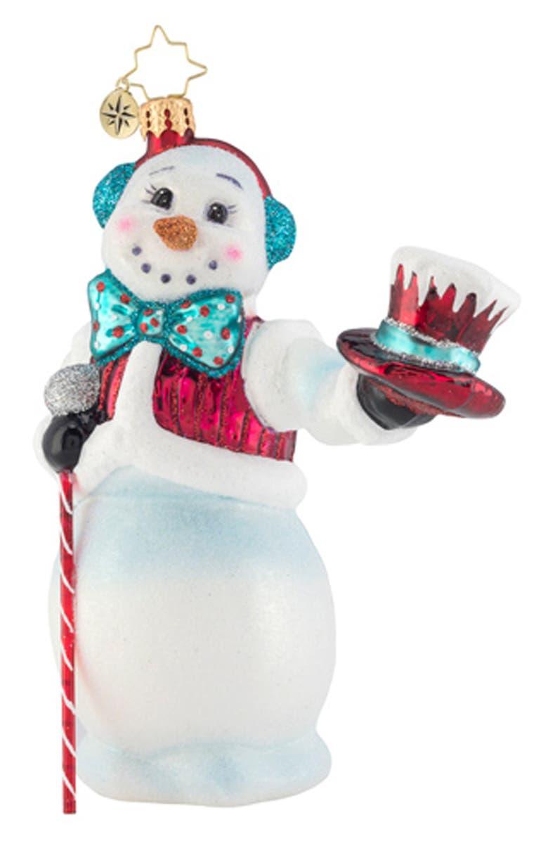 CHRISTOPHER RADKO Hats Off Snowman Ornament, Main, color, WHITE