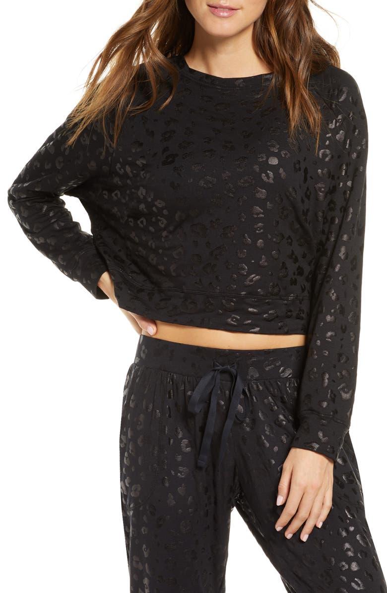 TEREZ Leopard Spot Crop Sweatshirt, Main, color, 001