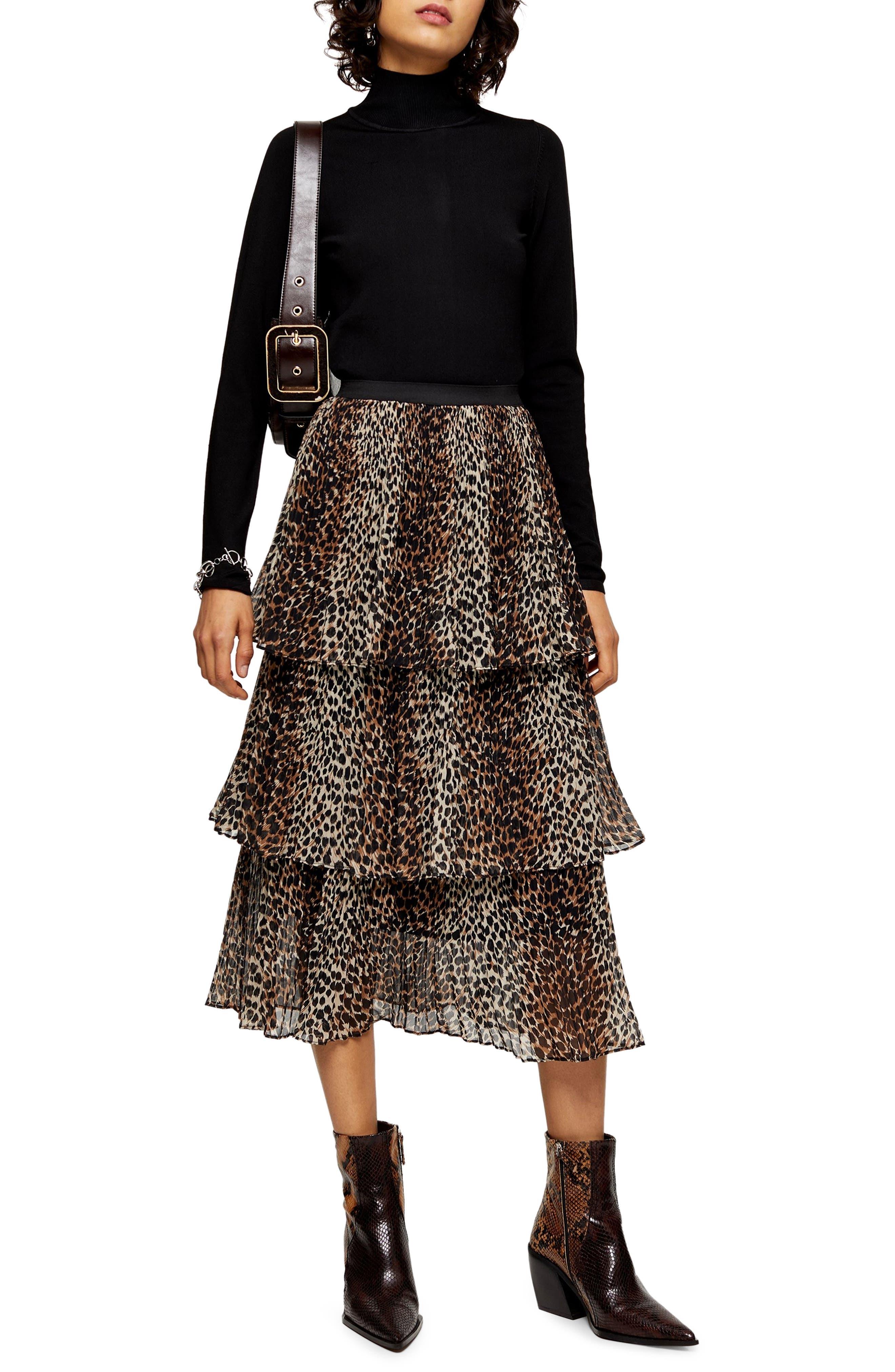 Topshop Animal Print Tiered Chiffon Midi Skirt