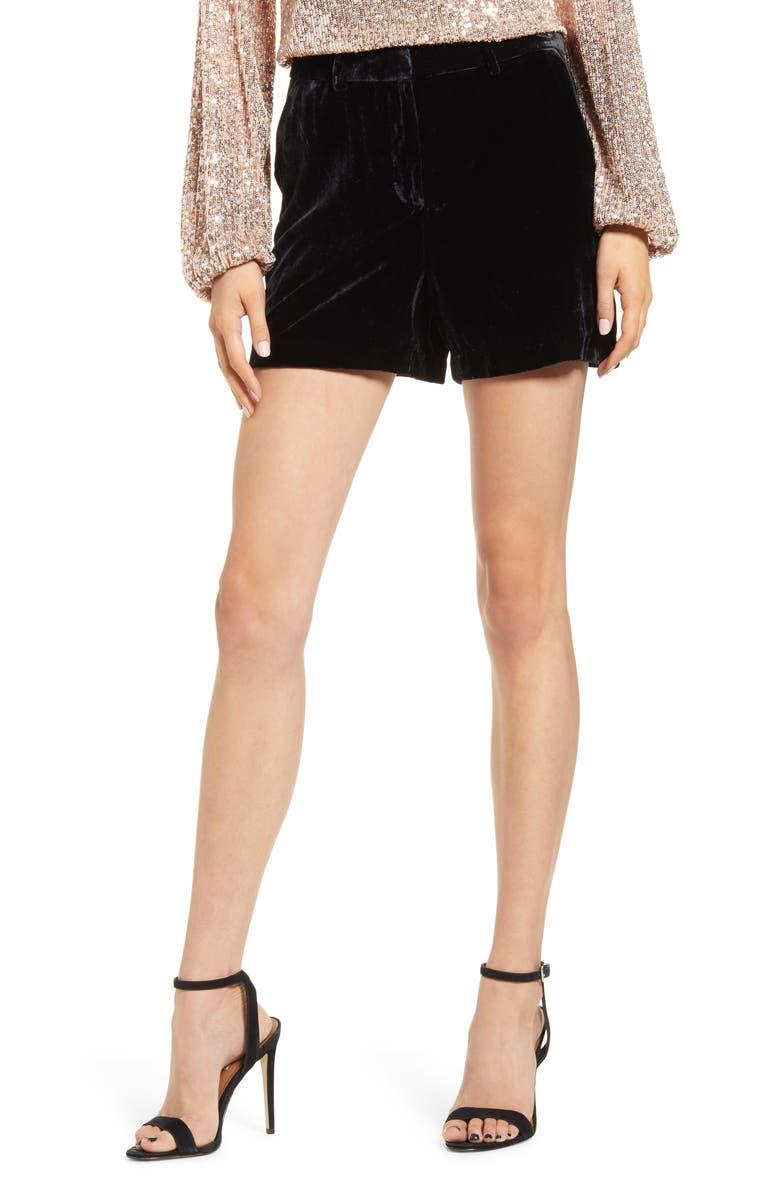 CHELSEA28 High Waist Velvet Shorts, Main, color, BLACK