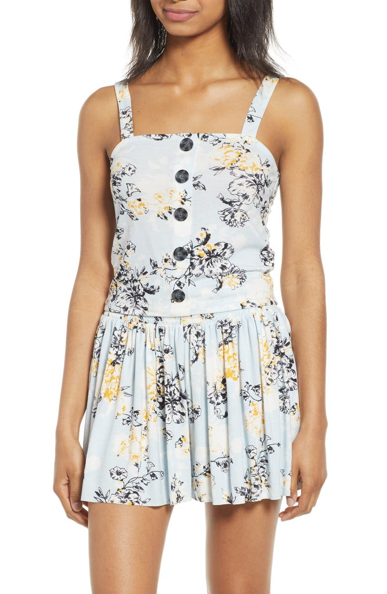 BP. Button Front Floral Print Tank Top, Main, color, BLUE DRIFT DETAIL FLORAL