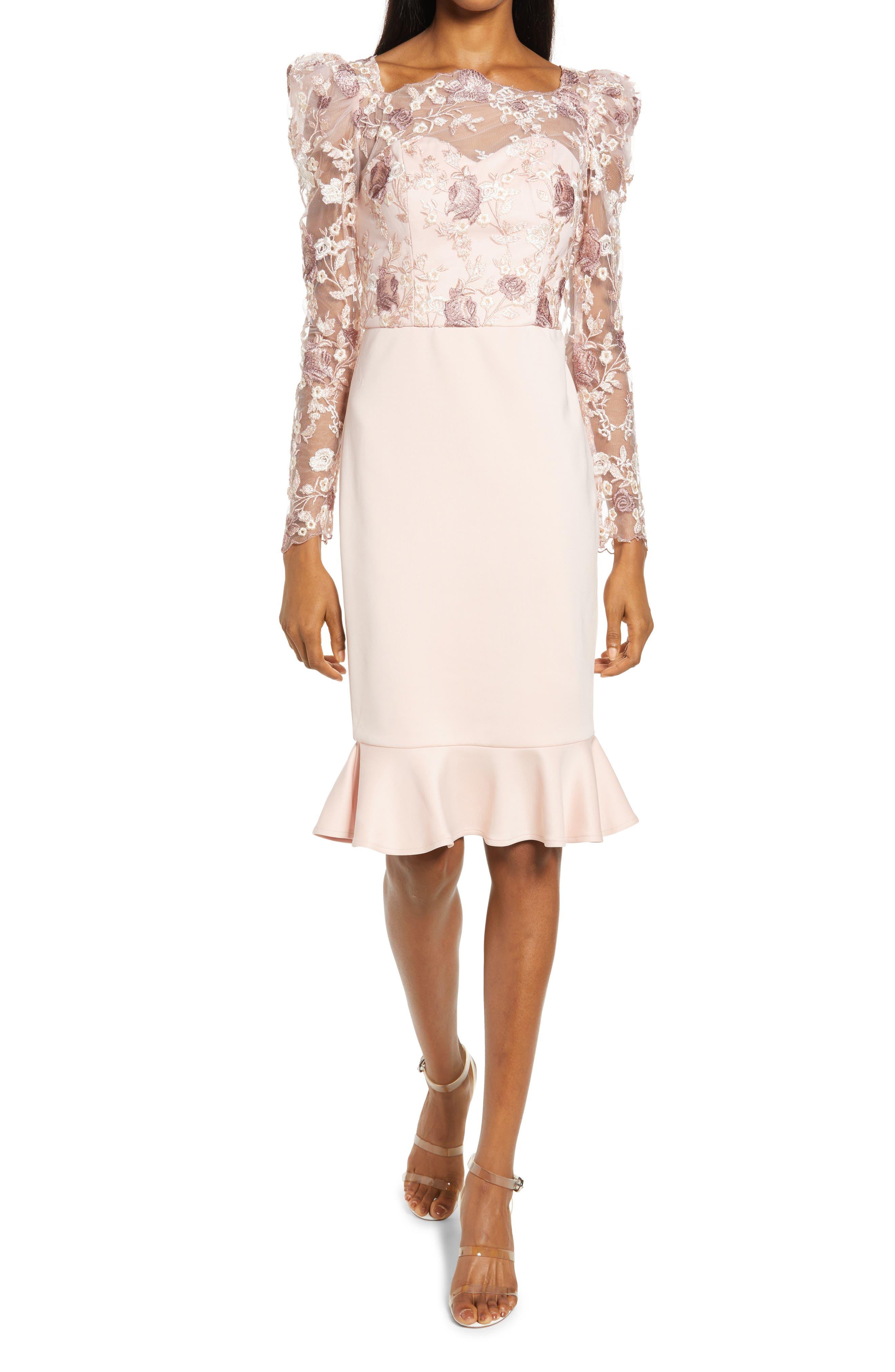 Long Sleeve Lace Body-Con Dress