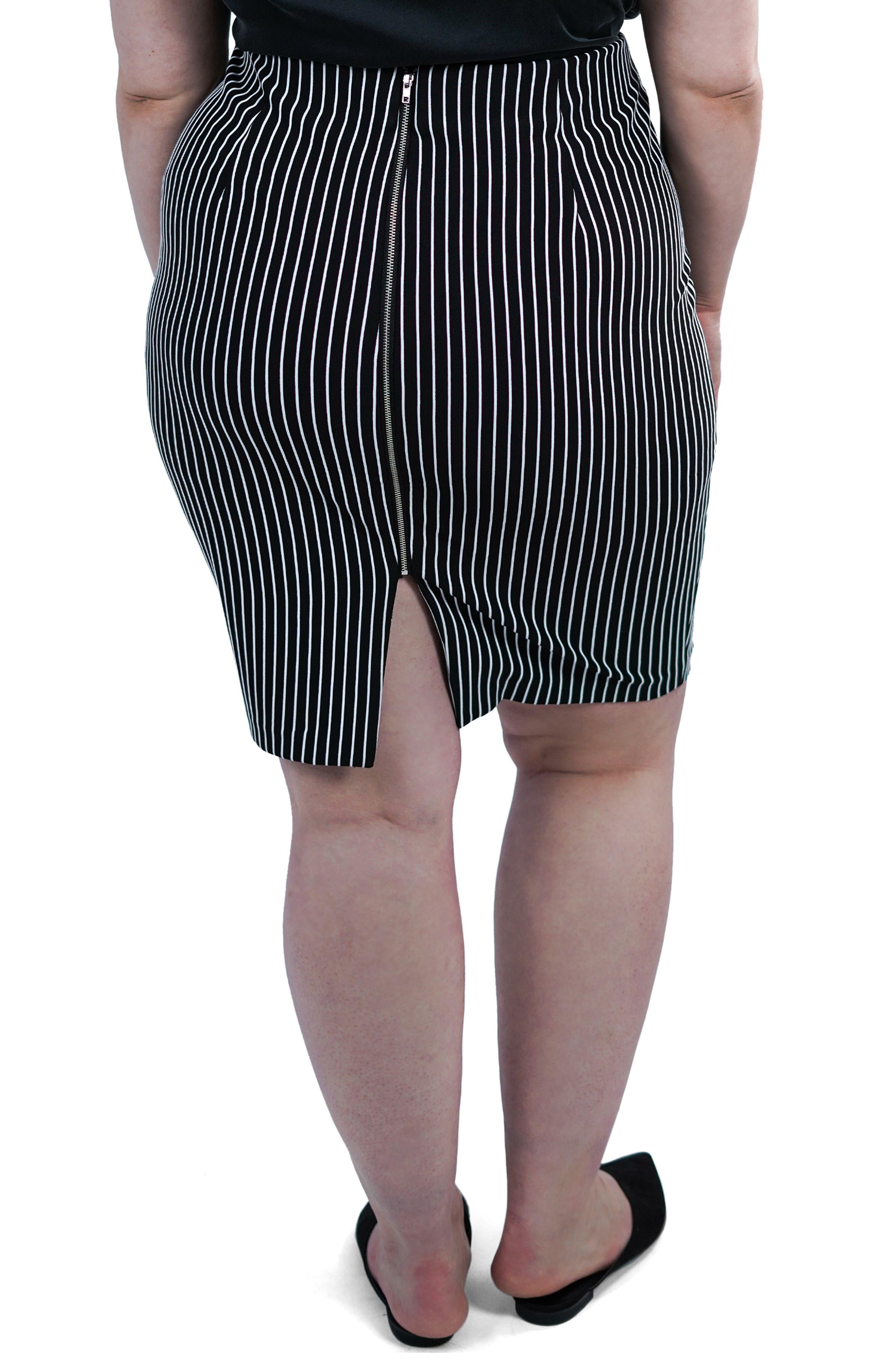 ,                             Textured Stripe Skirt,                             Alternate thumbnail 2, color,                             BLACK/ WHITE