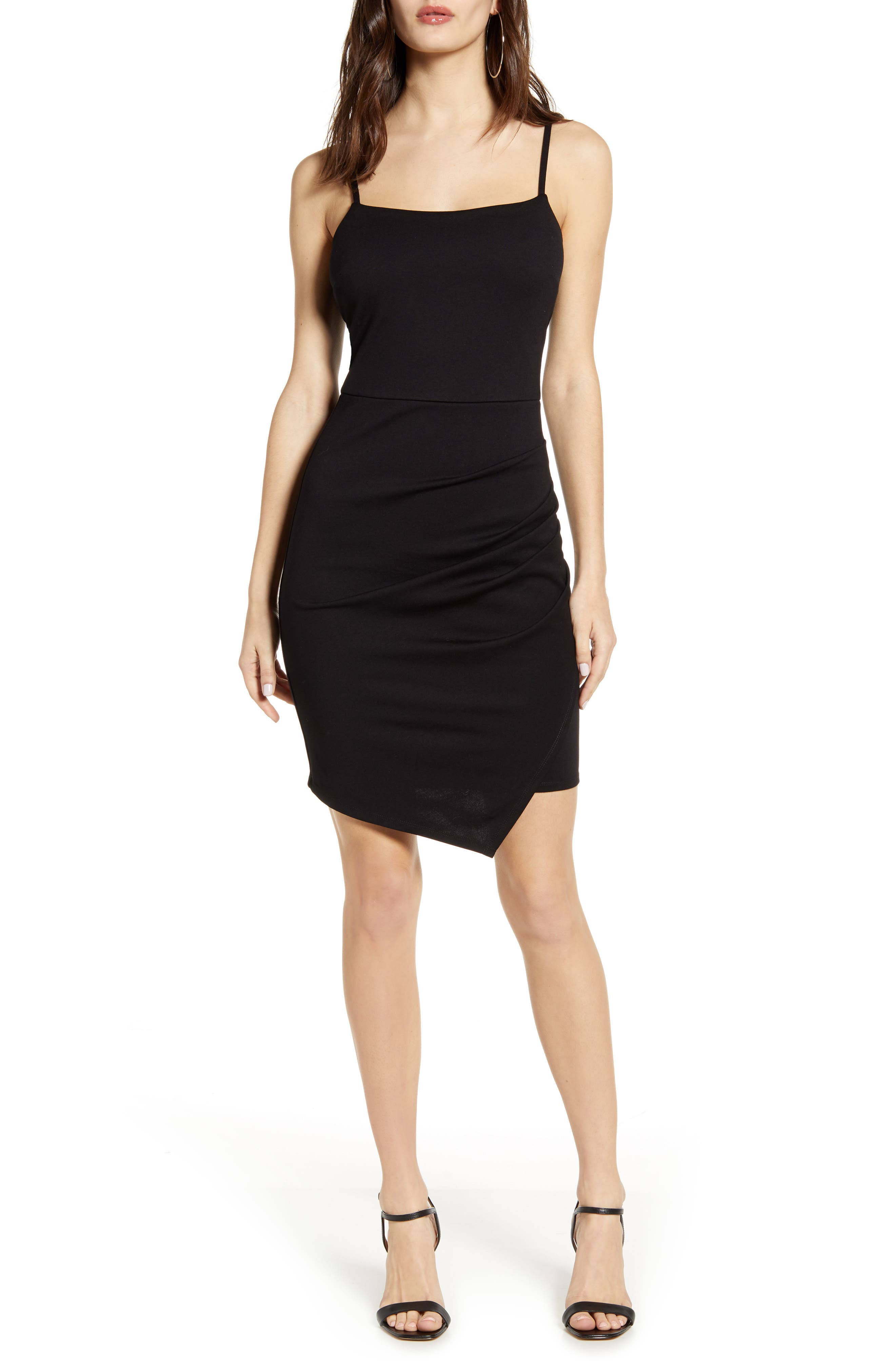 Love, Nickie Lew Ruched Square Neck Dress, Black