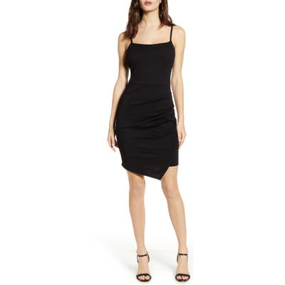 Love, Nickie Lew Ruched Square Neck Minidress, Black